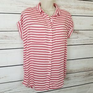 Beachlunchlounge Striped Buttoned Short Sleeve Top
